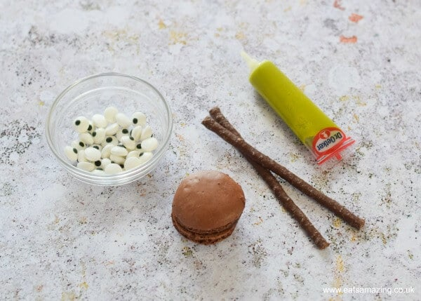How to make Macaron Spiders - fun food idea for Halloween from Eats Amazing UK - ingredients needed