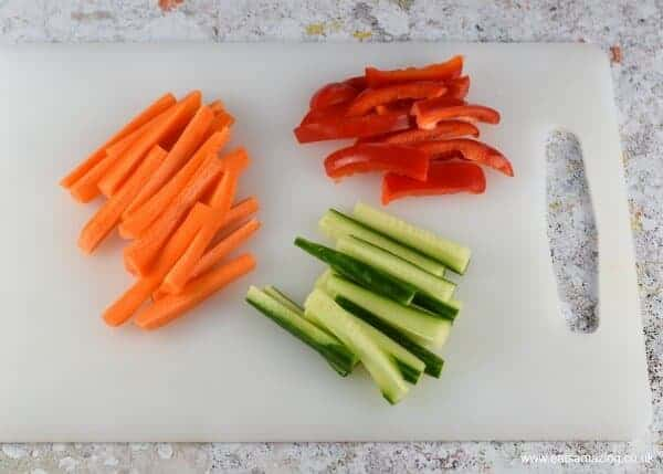 How to make creepy crudite cups - fun Halloween recipe for kids from Eats Amazing UK - Step 2 vegetables