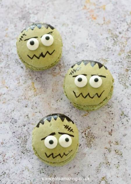How to make cute and easy Frankenstein Macarons - fun food idea from Eats Amazing UK - a great dessert for Halloween Parties