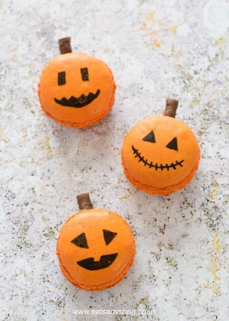 How to make cute and easy Macaron Pumpkin Jack-O'-Lanterns - fun food idea from Eats Amazing UK - a great dessert for Halloween Parties