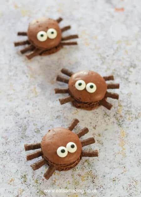 How to make cute and easy Macaron Spiders - fun food idea from Eats Amazing UK - a great dessert for Halloween Parties