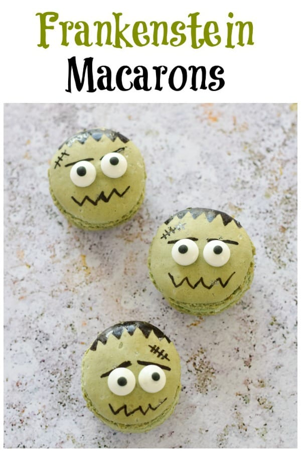 How to make easy Frankenstein Monster Macarons - Fun food idea for kids that makes a great dessert for Halloween Parties #EatsAmazing #Halloween #HalloweenFood #Halloweenparty #partyfood #halloweenfun #kidsfood #funfood #easyrecipe #halloweenrecipes #macarons