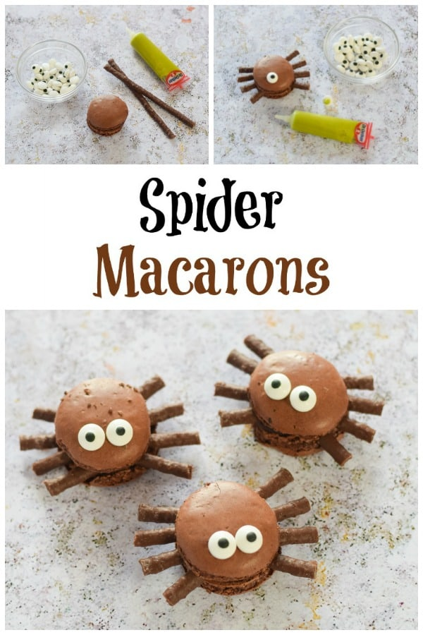 How to make easy Macaron Spiders - Fun halloween food idea for kids that makes a great last minute Halloween dessert #EatsAmazing #Halloween #HalloweenFood #Halloweenparty #partyfood #halloweenfun #kidsfood #funfood #easyrecipe #halloweenrecipes #macarons