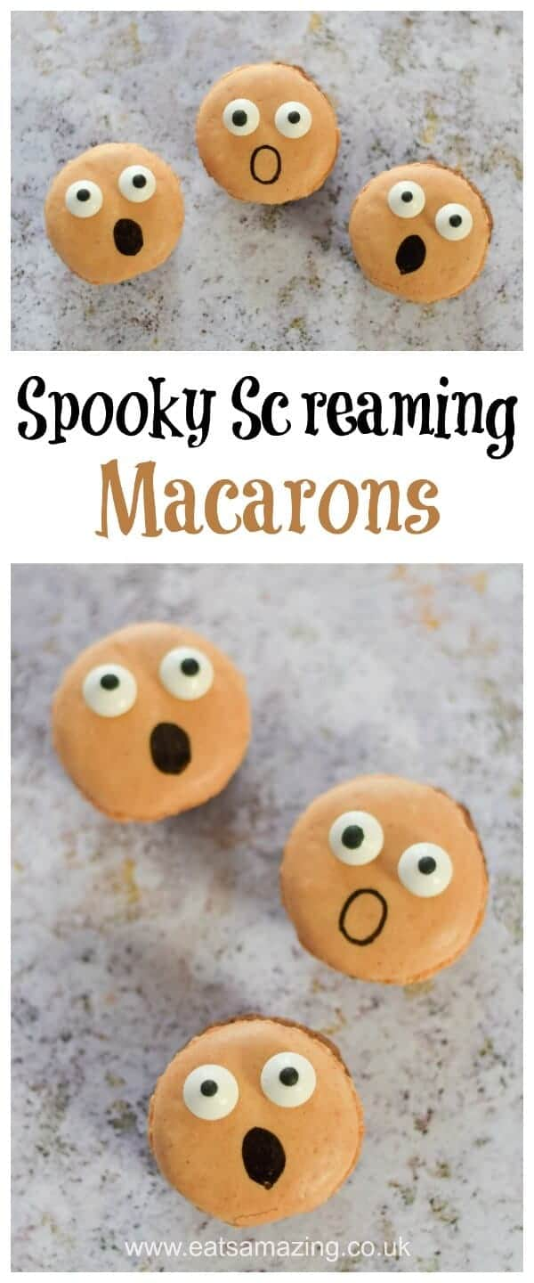 How to make easy Screaming Macarons - Fun food idea from Eats Amazing UK - a great dessert for Halloween Parties