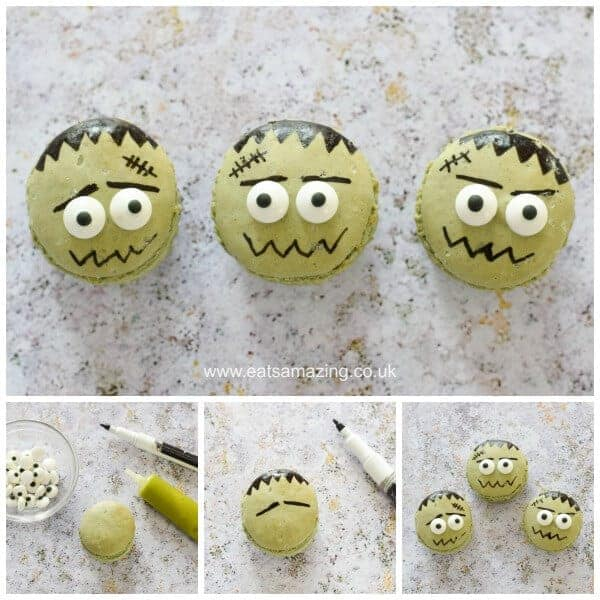How to make fun and easy Frankenstein Macarons - Fun Halloween food idea from Eats Amazing UK - a great dessert for Halloween Part