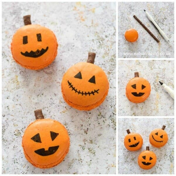 How to make fun and easy Jack-O'-Lantern Macarons - Fun Halloween food idea from Eats Amazing UK - a great dessert for Halloween Parties