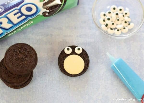 How to make quick and easy Oreo penguins with mint flavour oreos - Step 2 - edible candy eyes