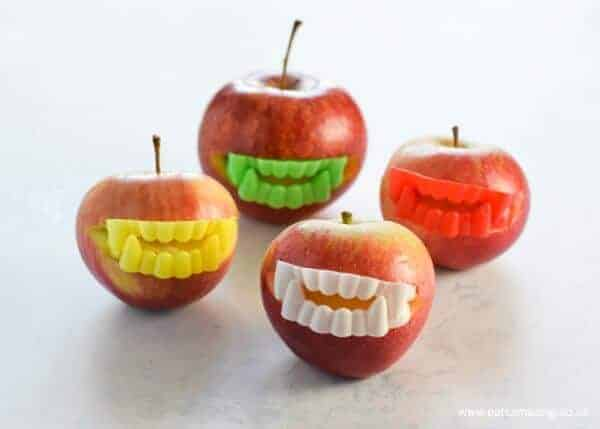 How to make quick easy Vampire Apples - fun and healthy Halloween Party Food for kids - Eats Amazing UK