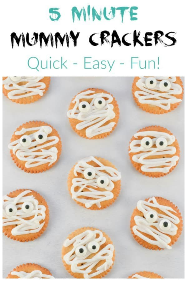 Mummy Ritz Crackers recipe - quick and easy fun Halloween food for kids that is perfect for Halloween party food #EatsAmazing #halloweenfoods #halloweenparty #funfood #kidsfood #kidsparty #halloween #partyfood #mummy #foodart
