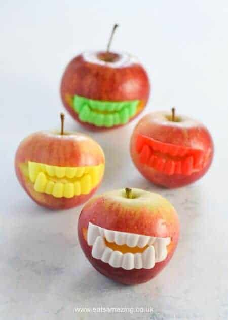 Quick Halloween Party Food Idea - Easy Vampire Apples - kids will love this fun and healthy Halloween food idea - Eats Amazing UK