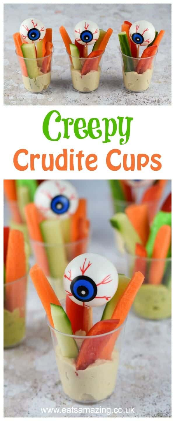Quick and easy Creepy Crudite Cups recipe - healthy and fun allergy friendly Halloween party food idea for kids - Eats Amazing UK