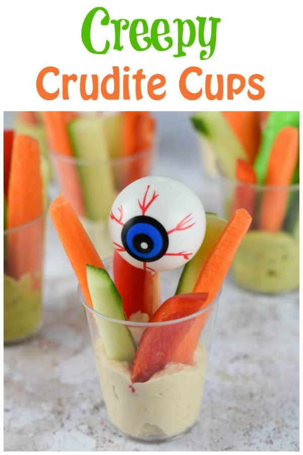 Quick and easy Creepy Crudite Cups recipe - healthy and fun allergy friendly Halloween party food idea for kids #EatsAmazing #Halloween #HalloweenFood #Halloweenparty #partyfood #halloweenfun #kidsfood #funfood #easyrecipe #halloweenrecipes #healthykids