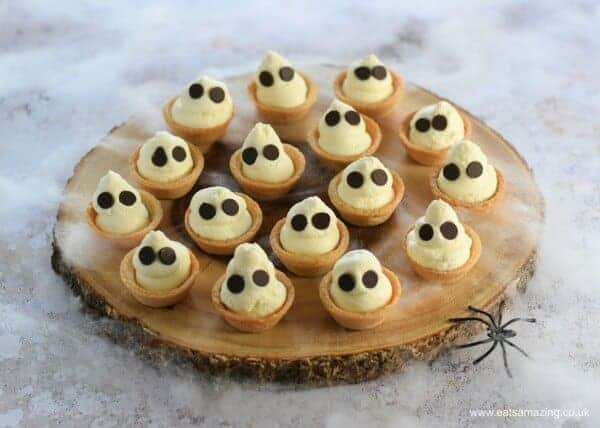 Quick and easy Halloween dessert recipe - fun Ghost mini cheesecake bites - perfect for Halloween party food - Eats Amazing UK