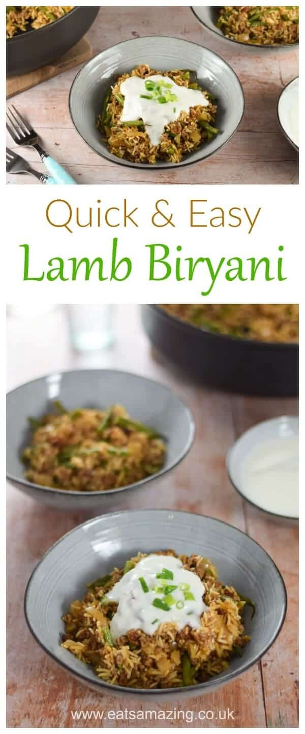 Quick and easy Lamb Biryani recipe - a great mid-week family meal idea from Gousto - Eats Amazing UK #recipe #easyrecipe #indianfood #familyfood #familymeal #cookingwithkids #rice