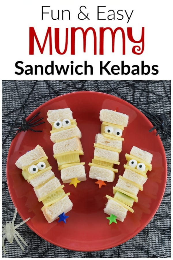 Quick and easy Mummy sandwich kebabs recipe with video tutorial - fun Halloween party food for kids and great for spooky lunch boxes too #EatsAmazing #Halloween #HalloweenFood #HalloweenParty #partyfood #kidsfood #funfood #foodart #sandwiches
