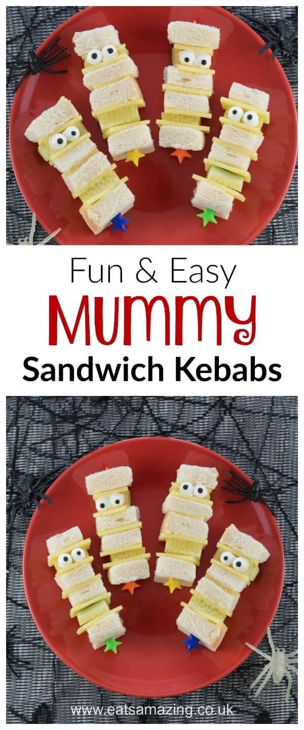 Quick and easy Mummy sandwich kebabs recipe with video tutorial - fun kids Halloween party food and great for spooky lunch boxes too - Eats Amazing UK
