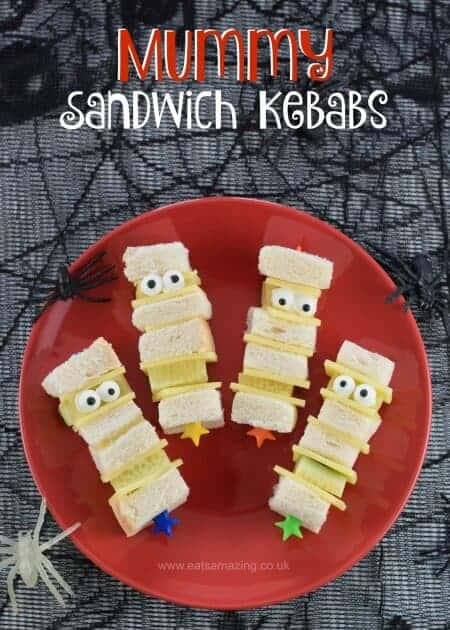 Quick and easy Mummy sandwich kebabs with video tutorial - fun kids Halloween party food and great for lunch boxes too - Eats Amazing UK
