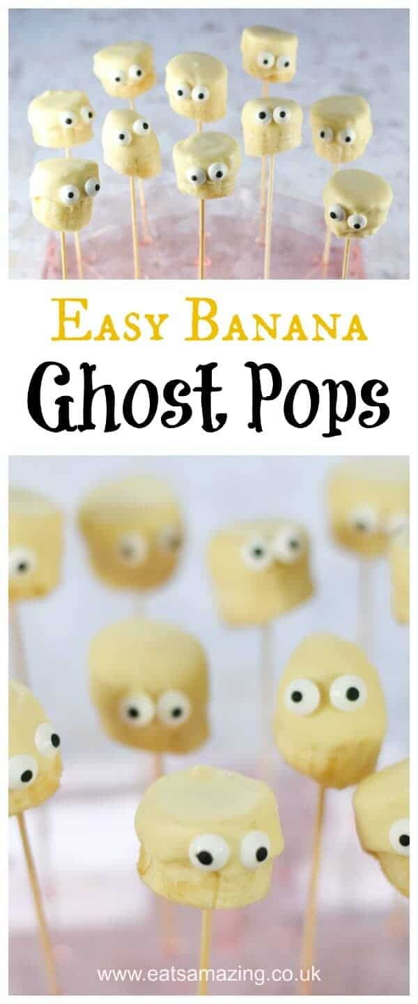 Quick and easy banana ghost pops - easy recipe for kids - fun Hallloween dessert or treat from Eats Amazing UK