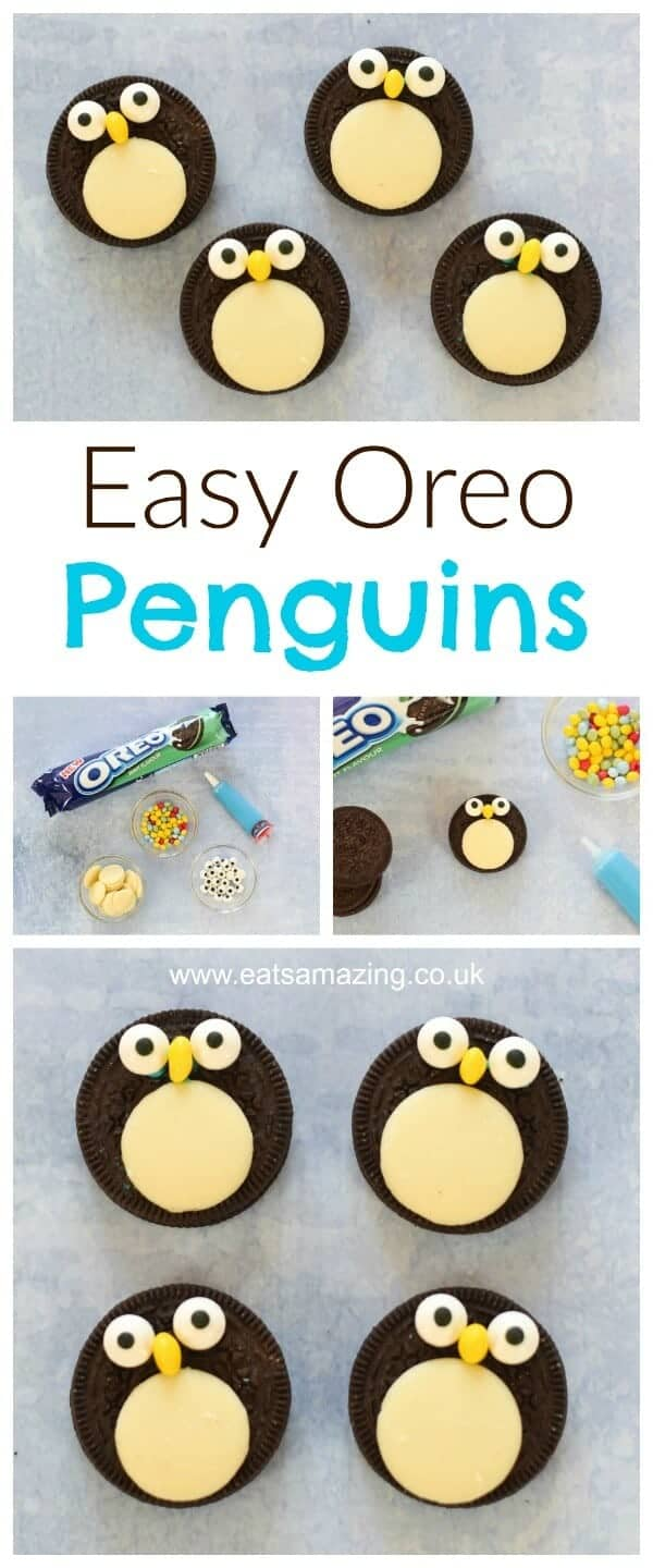 Quick and easy oreo penguins recipe - a fun snack treat or dessert topper for Christmas - fun food for kids from Eats Amazing UK #christmasfood #funfood #foodart #kidsfood #oreo #penguin #tutorial #winter #cookieart #cookiedecorating