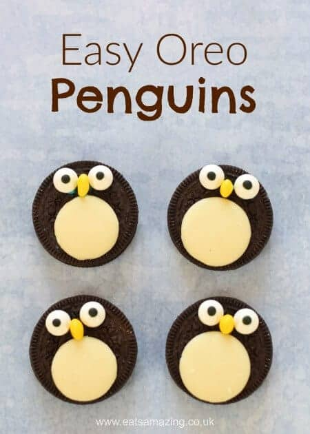 Quick and easy oreo penguins recipe - a fun snack treat or dessert topper for winter puddings - fun food for kids from Eats Amazing UK