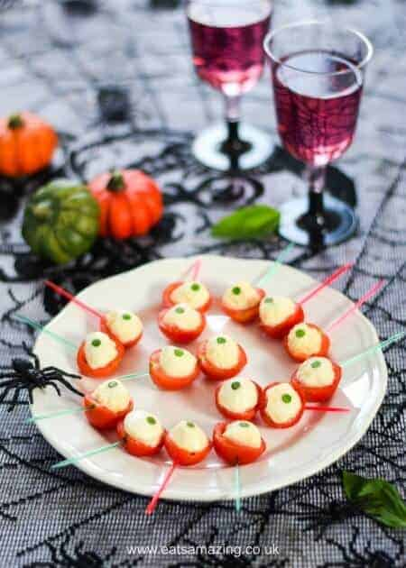 Spooky Eyeball Caprese Bites Recipe - fun and easy Halloween food - perfect for Halloween party food snacks and kids lunch boxes - Eats Amazing UK