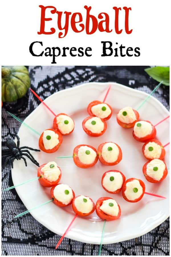 Spooky Eyeball Caprese Bites Recipe - this fun easy Halloween food is perfect for Halloween party food snacks and kids lunch boxes #EatsAmazing #Halloween #halloweenfoods #halloweenrecipes #partyfood #healthyHalloween #Halloweenparty #caprese #easyrecipe #funfood #kidsfood