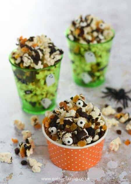 Spooky Halloween popcorn with dark chocolate recipe - fun Halloween food for kids - great for movie snacks and party food - Eats Amazing UK