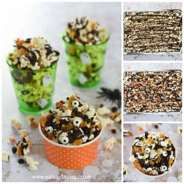 Spooky Halloween popcorn with dark chocolate recipe - fun Halloween food to make with kids - great for movie snacks and party food - Eats Amazing UK