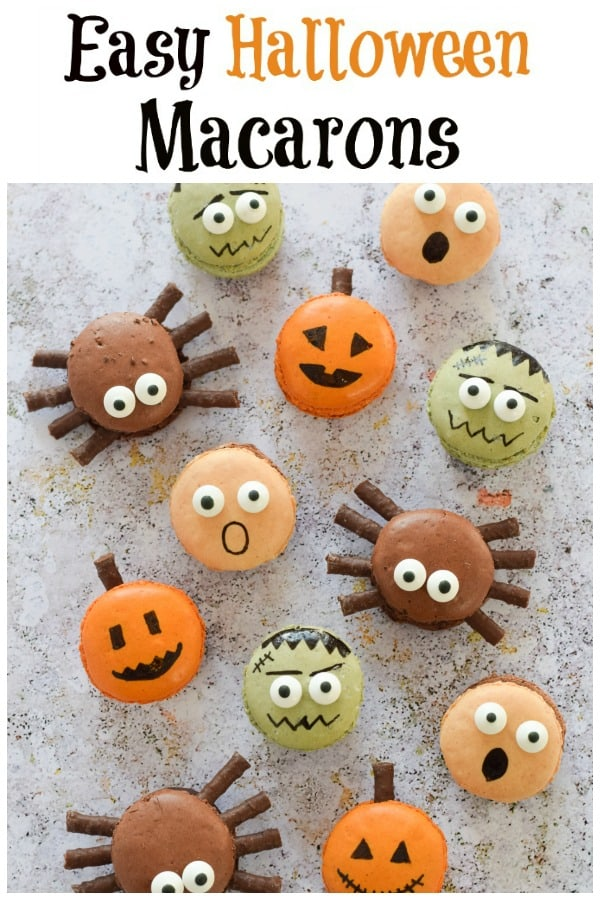 These fun and Easy Halloween Macarons make a great last minute dessert for Halloween party food - with step by step photo tutorial #EatsAmazing #Halloween #HalloweenFood #Halloweenparty #partyfood #halloweenfun #kidsfood #funfood #easyrecipe #halloweenrecipes #macarons