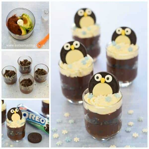 Yummy Chocolate Mint Avocado Mousse recipe with Mint Oreo Penguin decorations - quick easy and fun dessert from Eats Amazing UK