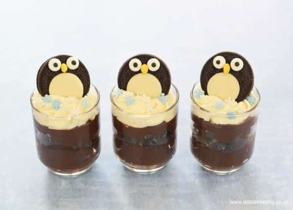 Yummy Chocolate Mint Avocado Mousse recipe with cute Oreo penguin decorations - quick easy and fun dessert from Eats Amazing UK