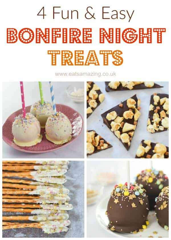 4 Fun and Easy Treat recipes for Bonfire Night including chocolate apples popcorn bark and edible pretzel sparklers - fun food for kids from Eats Amazing UK