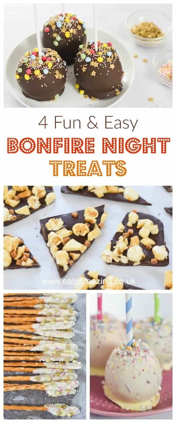 4 Fun and Easy Treat recipes for Bonfire Night with chocolate apples popcorn bark and edible pretzel sparklers - fun food for kids from Eats Amazing UK #bonfirenight #bonfire #fireworks #candyapples #apples #chocolate #funfood #easyrecipe #treats #fallfood #fallrecipes #autumn