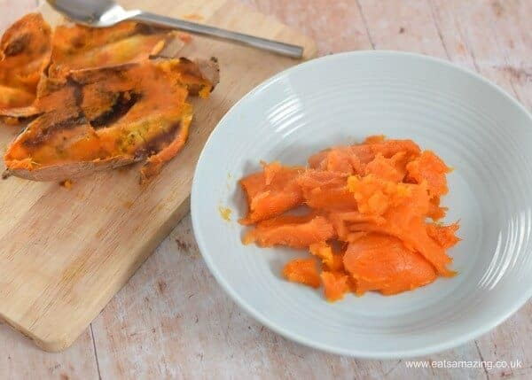 Easy whole roasted sweet potato mash recipe from Eats Amazing UK - no chopping peeling or boiling needed
