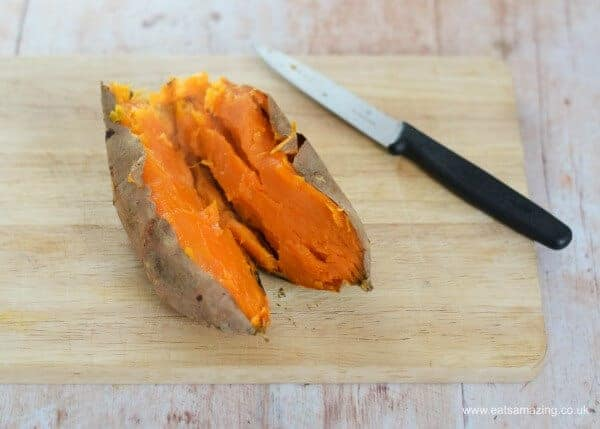 Easy whole roasted sweet potato mash recipe - no chopping peeling or boiling - Eats Amazing UK
