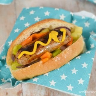 Healthier Hot Dogs recipe with simple rainbow veggies and onions - fun food for kids from Eats Amazing UK