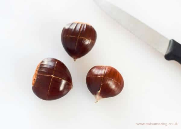 ow to roast foraged chestnuts - cutting a cross in the outside shell - Eats Amazing UK