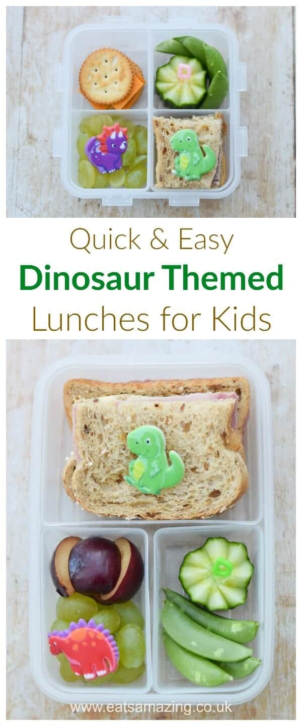 Quick and easy dinosaur themed packed lunches for kids - simple but fun bento lunch ideas from Eats Amazing UK #bento #kidsfood #lunchideas #lunch #lunchtime #dinosaur #funfood #healthykids