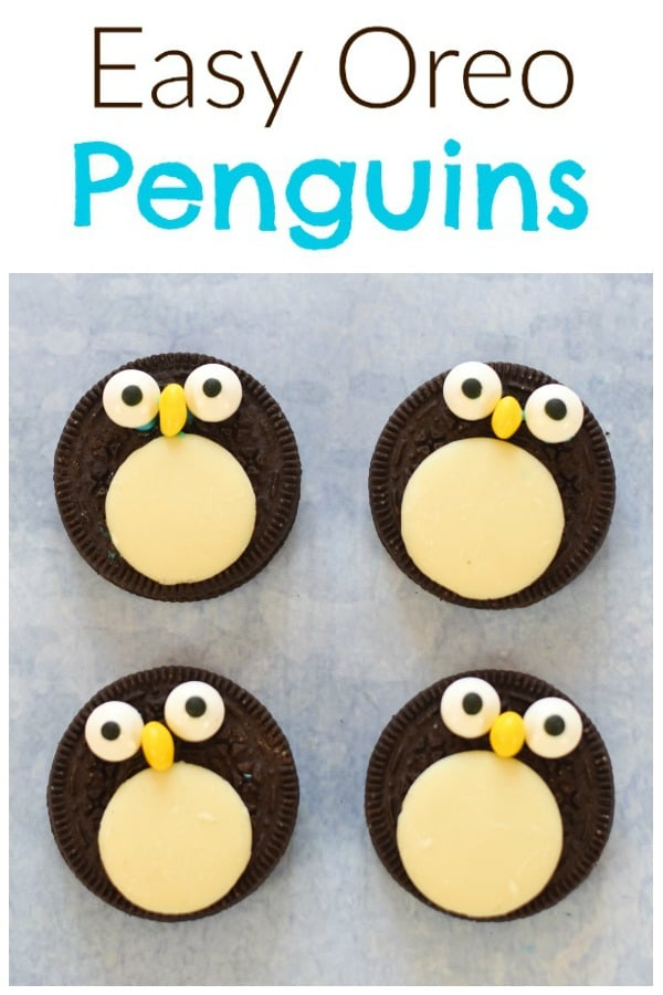 Quick and easy oreo penguins recipe - a fun festive snack or treat for kids or a cute edible topper for Christmas desserts #EatsAmazing #christmasfood #funfood #foodart #kidsfood #oreo #penguin #tutorial #winter #cookieart #cookiedecorating