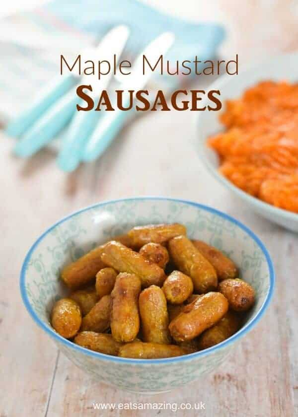 Really easy Maple Mustard Sausages recipe - just 3 ingredients - perfect for festive party food and bonfire night too - Eats Amazing UK