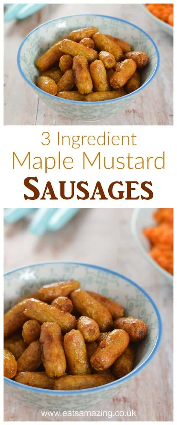 Really easy Maple Mustard Sausages recipe - just 3 ingredients - perfect for party food and bonfire night too - Eats Amazing UK #bonfire #bonfirenight #partyfood #party #sausage #maple #mustard #sausages #easyrecipe #kidsfood