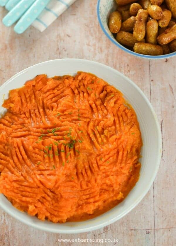 Really easy sweet potato mash recipe with whole roasted sweet potato and no chopping peeling or boiling needed - Eats Amazing UK
