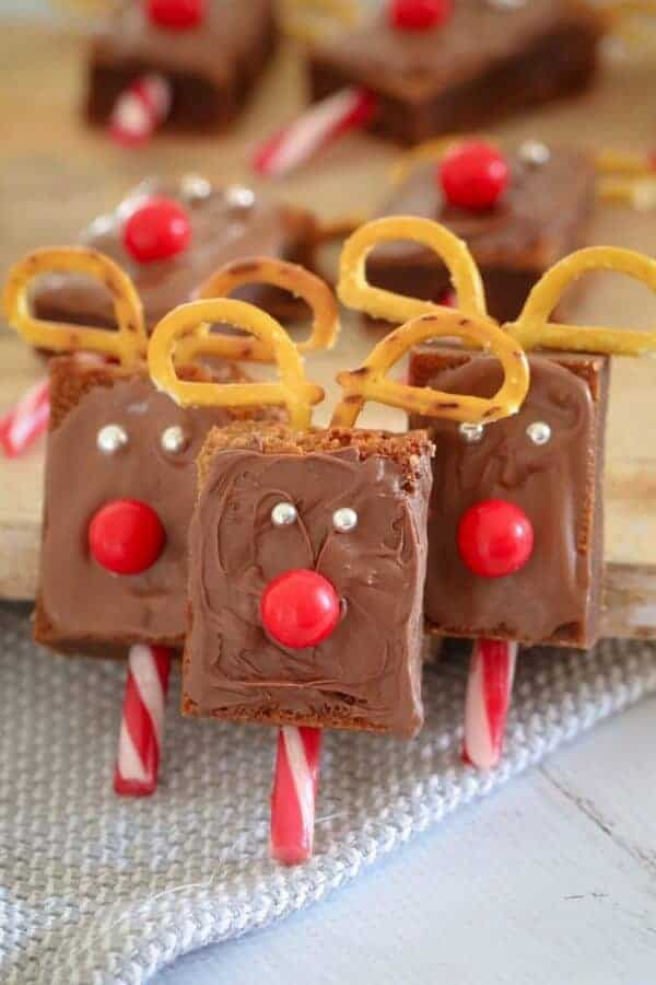 25 Fun Reindeer Themed Foods for Kids this Christmas - Christmas Reindeer Brownies from Bake Play Smile