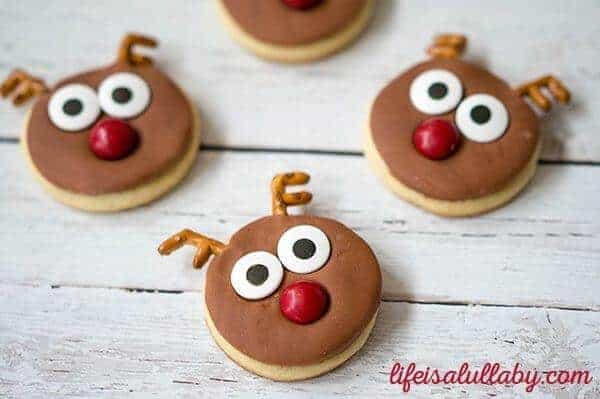 25 Fun Reindeer Themed Foods for Kids this Christmas - Christmas Reindeer Sugar Cookies from The Best Ideas for Kids