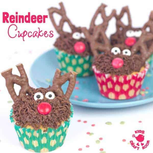 25 Fun Reindeer Themed Foods for Kids this Christmas - Reindeer Cupcakes from Kids Craft Room