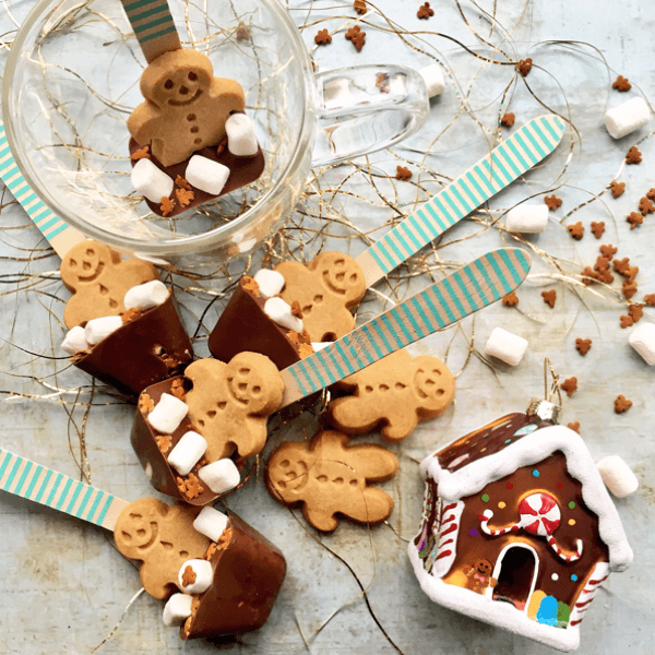 30 Easy Edible Gifts Kids Can Make for Christmas - Gingerbread Men Chocolate Stirrers from Foodie Quine