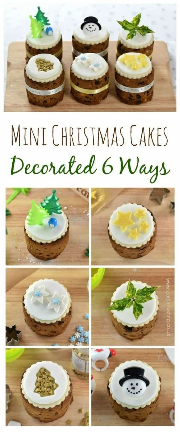 6 super easy Christmas cake designs on mini Christmas cakes - a fun festive baking project for kids or adults from Eats Amazing UK #ChristmasFood #christmascake #icing #fondant #cakedecorating #cookingwithkids #ediblegifts #cakes #funfood #fruitcake #cake #cakerecipes #minicake #giftideas #christmasgifts #diygift #diychristmas