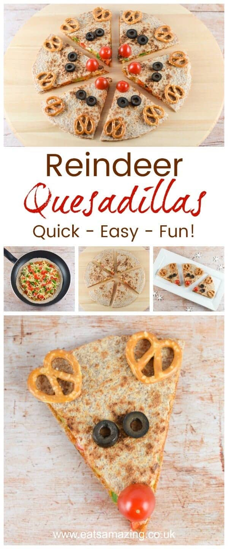 Cute and easy reindeer quesadillas - healthy fun Christmas food for kids from Eats Amazing UK #funfood #Christmasfood #reindeer #vegetarian #vegetarianrecipes #kidsfood #foodart #edibleart #healthykids #Christmasparty #partyfood #quesadillas #kidfriendly