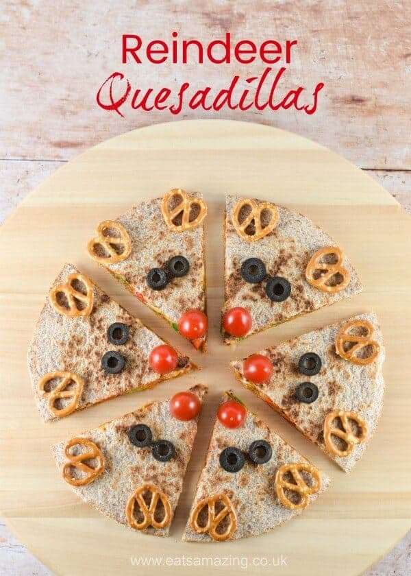 Cute and easy reindeer quesadillas - healthy fun Christmas food for kids - great for Christmas parties - Eats Amazing UK