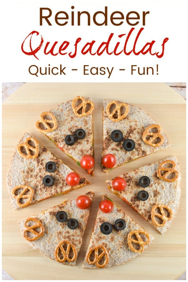 Cute and easy reindeer quesadillas recipe - healthy fun Christmas food for kids - perfect for a festive lunch or dinner